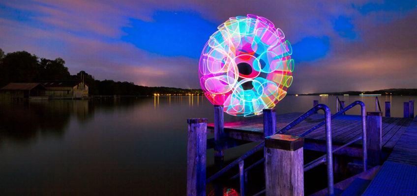 Lightpainting Swirley Lake fotografiert am Starnberger See von Bernhard Rauscher