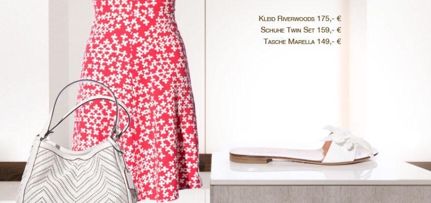 Kleid Riverwoods 175,- € | Schuhe Twin Set 159,- € | Tasche Marella 149,- € Frühlingsoutfits und Modetipps von Svetlana Vetter, Fea Fashionloft Starnberg