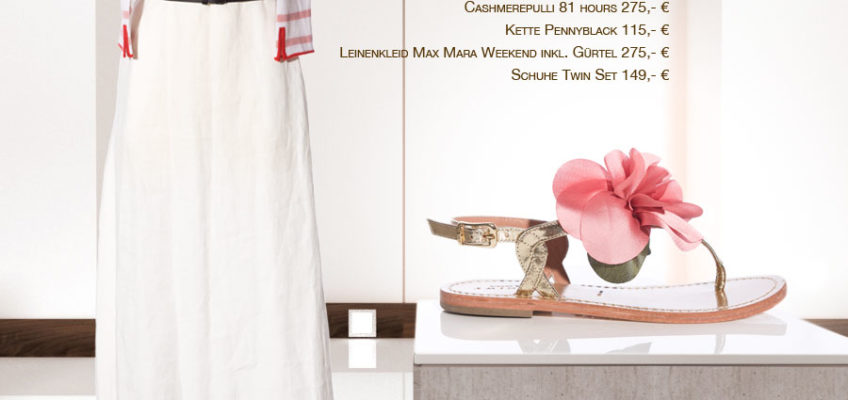 Cashmerepulli 81 hours 275,- € | Kette Pennyblack 115,- € | Leinenkleid Max Mara Weekend inkl. Gürtel 275,- € | Schuhe Twin Set 149,- € Frühlingsoutfits und Modetipps von Svetlana Vetter, Fea Fashionloft Starnberg