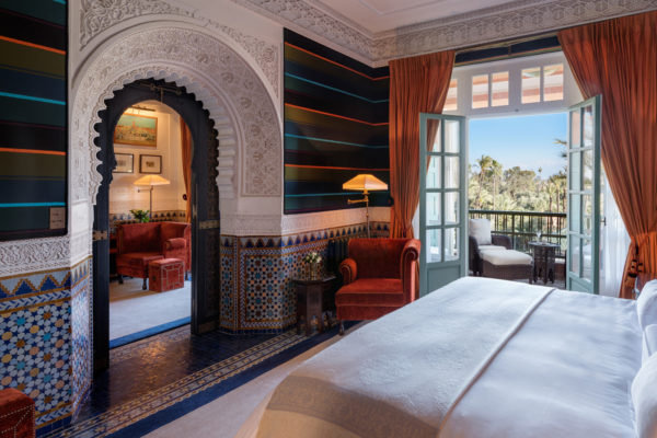 Bedroom, Majorelle Suite, Room 380.  La Mamounia Hotel, Marrakech,