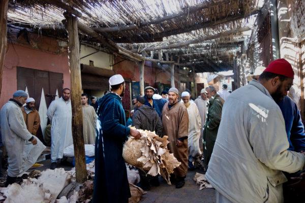 Fell und Lederhändler Medina Marrakesch