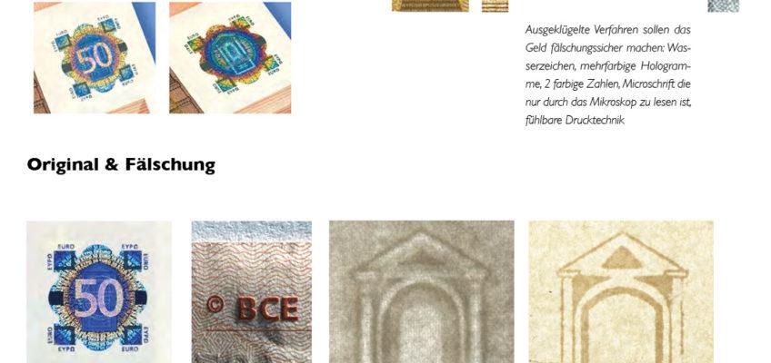 Original und Fälschung: Hologramm, fühlbares Druckbild und Wasserzeichen