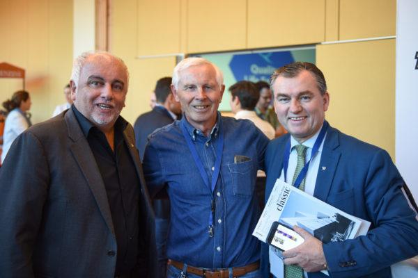 Initiator des Quality Life Forums Robert Lübenoff mit seinen Gästen Dr. Hans Dieter Cleven und Starkoch Toni Mörwald